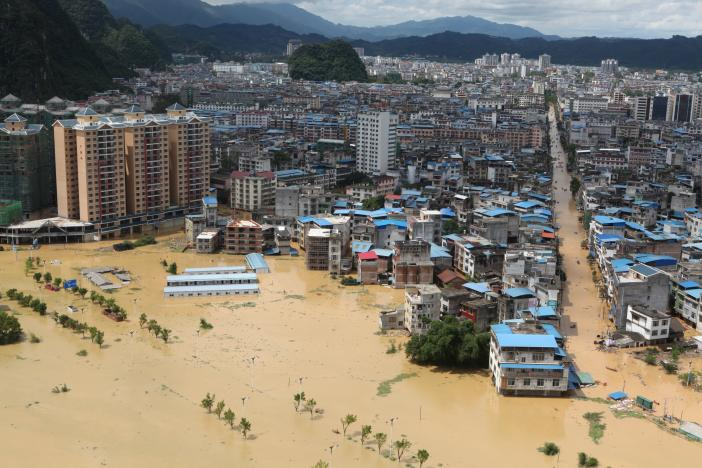 A general view shows a flooded area in Liuzhou, Guangxi province, China, July 2, 2017. Picture taken July 2, 2017. REUTERS/Stringer