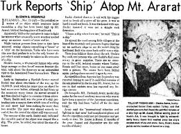 Turk report ship on Mount Ararat i